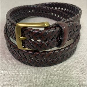 Dockers Brown Leather Braided Belt Size 36